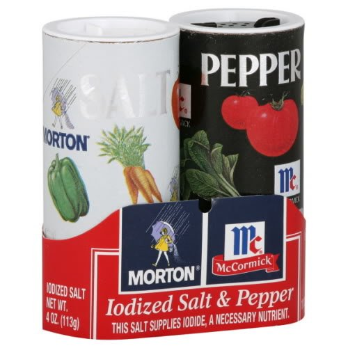 (Morton, Iodized Salt & Pepper Shaker Duo Pack, 5.5oz Package (Pack of 6))