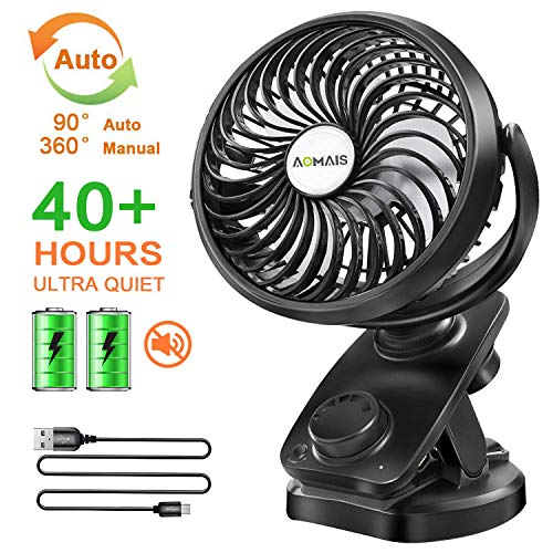 Clip on Stroller Fan Battery Operated - Portable 40 Hours Desk Fan【2019Upgrade Version】with Rechargable 4400mAH Battery USB Cable Auto Oscillating Mini Fan for Baby Outdoor Sports Activities Aomais