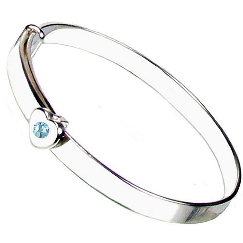 Sterling Silver Expanding March Birthstone Christening Bangle - Free Engraving & Free Personalised Box Ribbon - 12 Month Guarantee - Blue Topaz Crystal Heart to Heart ER-SH-BS-Mar