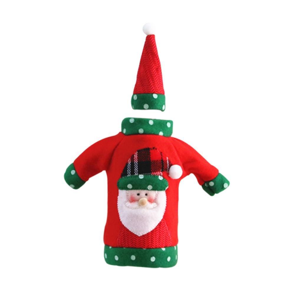 Futurepast natalizio in tessuto non tessuto con bottiglia di vino decorazione natalizia champagne di sacchetto regalo Casa decorazione per feste di Natale Decorazioni, rosso