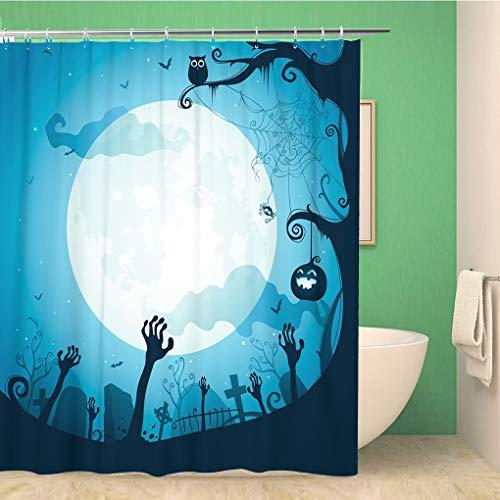 Awowee Bathroom Shower Curtain Tree Halloween Graveyard Silhouette Bat Cartoon Owl Death Backlit 60x72 inches Waterproof Bath Curtain Set with Hooks -