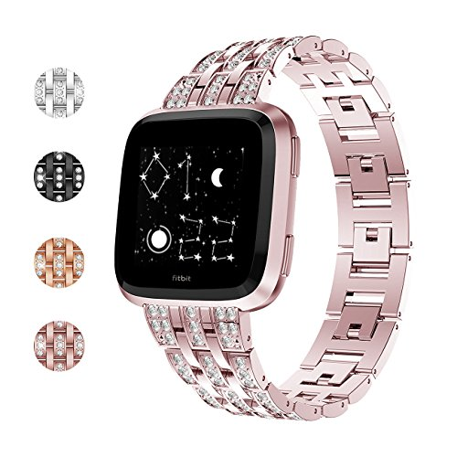 Fundro Compatible Fitbit Versa Band, Bling Stainless Steel Metal Bracelet Replacement Band Wristband Accessories Strap with Rhinestones for Women (Rose Gold)