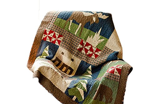 Mountain Cabin Throw Blanket Quilts Rustic Lodge Style Decor 50x60 Lap Quilt Quilted Wall Hanging. - Log Cabin Throw Quilt