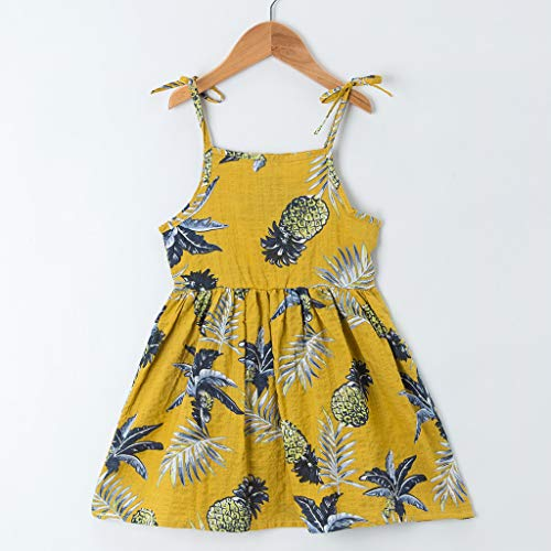 Yamally Yellow Girls Dress Baby Girls Vintage Floral Dress Birthday Party Toddler Dress by Yamally_9R_Baby Skirts (Image #2)