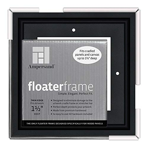 Ampersand Floaterframe for Wood Panels, 1.5 Inch Depth, Thin, 6x6 Inch, Black (FTHIN150606B)
