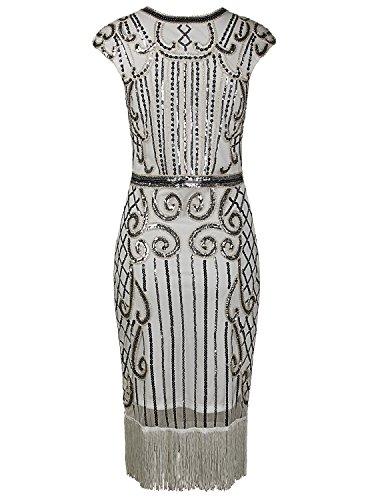 Vijiv 1920s Vintage Inspired Sequin Embellished Fringe Long Gatsby Flapper Dress,Silver White,Small Photo #4