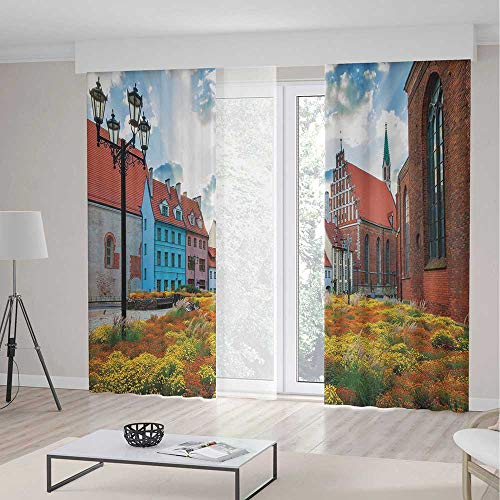 (Victorian Decor Decor Curtains,Old City Riga Latvia Capital with Historical Buildings Medieval Town Image Decorative,Window Drapes 2 Panel Set, Living Room Bedroom,197 W 84 L,Multicolor)