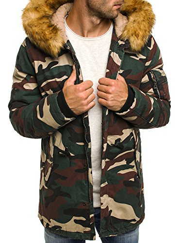 OZONEE Herren Winterjacke Wärmejacke Parka Camouflage Militärstil Armee Steppjacke Jacke Sportjacke Kapuzenjacke OZONEE 3162 CAMO M