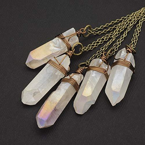 Raw white aurora borealis crystal aura quartz point antique bronze chain pendant necklace 24 in
