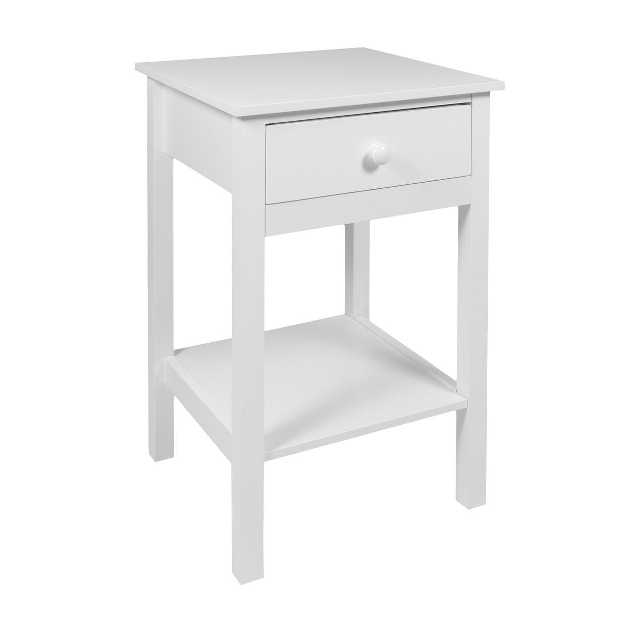 woodluv bedside drawer with shelf cabinet side table storage unit wood white