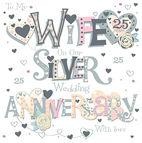 (Wife Silver 25th Wedding Anniversary Greeting Card 8