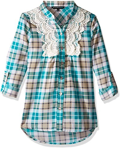 My Michelle Big Girls' Plaid Top with Crochet Front Applique and Roll Tab Sleeves, Jade, Small