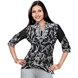 Women Black Collar Neck 3/4 Sleeve Tunic Top (xxxl)