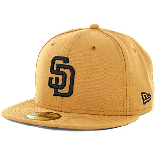 (New Era 59Fifty San Diego Padres Fitted Hat (Panama Tan/Black) Men's Custom Cap)