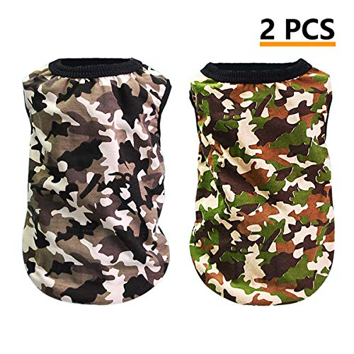 MWAH Camo Dog Shirts Pet T-Shirt Cotton Puppy Army Dog T Shirt Dog Jumper Camouflage Vest Puppy Pet Clothing Puppies…