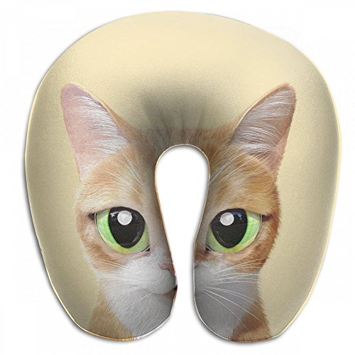Sunny-D Yellow Cat U Shaped Pillow Slow Resilience Memory Foam 100% Soft Comfortable Neck Pillow For Travel,Airplane,Office And Home Use by Sunny-D