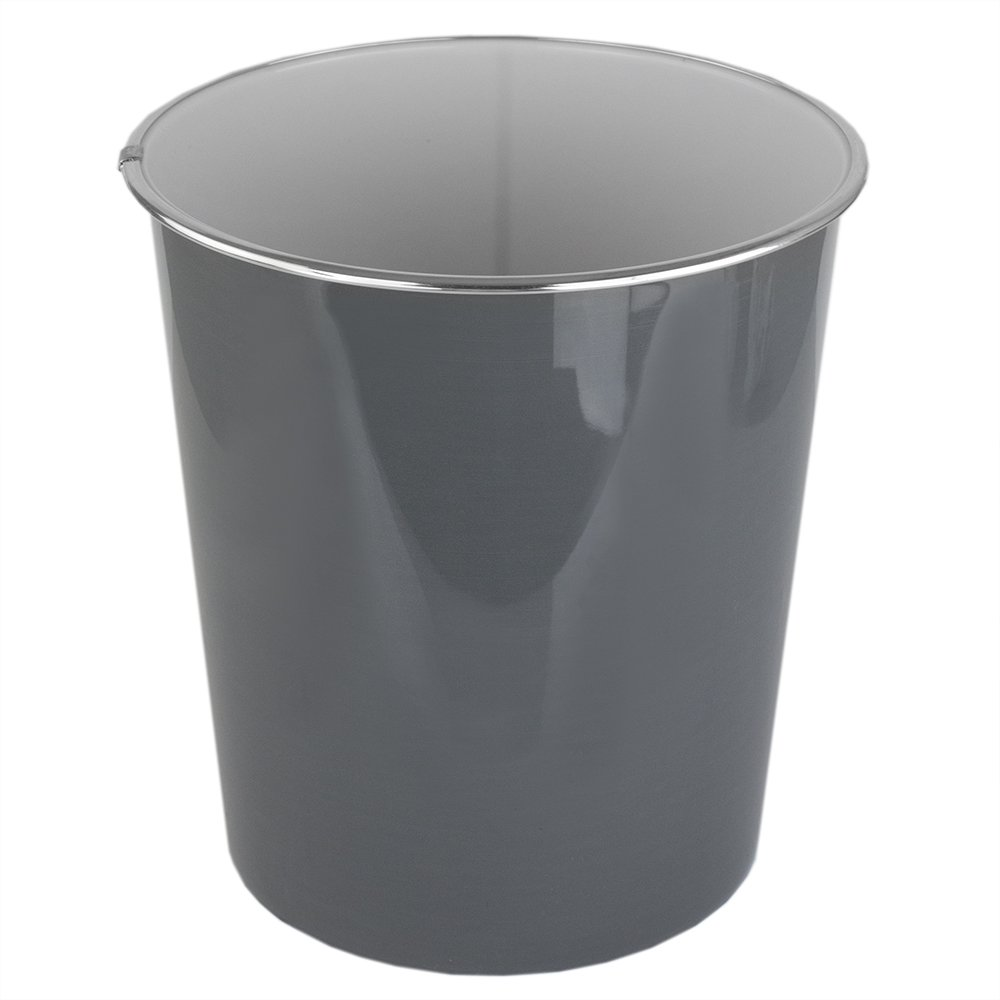 Home Basics Plastic 5 Liter Waste Bin Garbage Can for Office, Bedroom, Bathroom and More! (Grey)