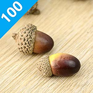 ONWON 100pcs Simulation Artificial Lifelike Small Acorn with Natural Acorn Cap for DIY Decoration Crafting Home House Kitchen Decor - Fake Fruit Props Acorns 4