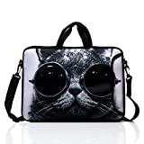 15.6-Inch Laptop Shoulder Bag Case Sleeve With Handle and extra pocket For 14'' 14.1'' 15'' 15.6 Inch MacBook/Ultrabook/HP/Acer/Asus/ Dell/Lenovo/Thinkpad (Grey Cat)