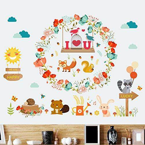 Cartoon Animal Flowers Wall Sticker Art Nursery Decals Kids Room Home Decor DIY