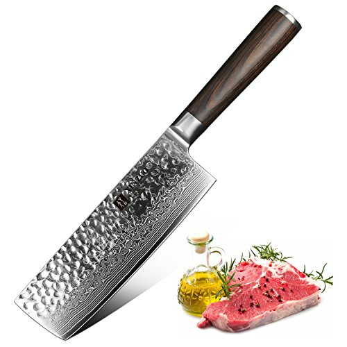 XINZUO Nakiri Knife Damascus Steel 6.8 Inch High Carbon 67 Layer Japanese VG10 Damascus Super Steel Professional Vegetable Kitchen Chef's Knife Hammered Finish with Rosewood Handle - He Series by XINZUO