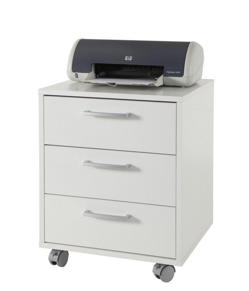 Cassettiera ufficio tre cassetti color bianco laccato lucido ...