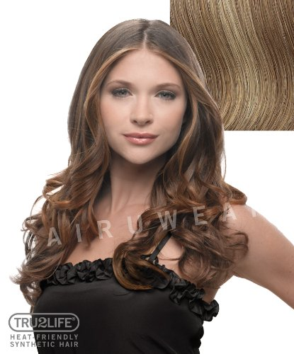 Hairdo Tru2Life Styleable Extensions - 23 Inch Wavy Clip In Extension R14/25-Honey Ginger/Dark Golden Blonde by HairDo