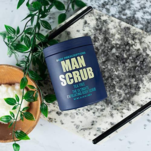 Body Prescriptions Body Scrub for Men- Ultimate Exfoliating Scrub Infused with Tea Tree, in Jar with Twist Top