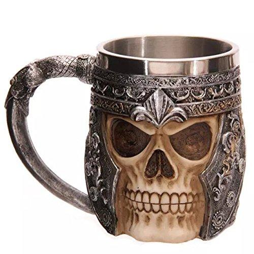 Medieval Time Helmet Viking Warrior Skull Head 11oz Stainless Steel Stern Tankard Drinking Mug for Beer, Coffee and Beverage