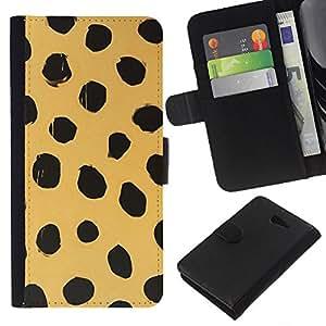 KLONGSHOP // Tirón de la caja Cartera de cuero con ranuras para tarjetas - Beige Negro Dots naturaleza animal Piel - Sony Xperia M2 //