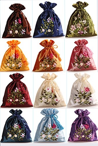 2500 Silk Brocade Double Layer Pouch Drawstring Coin Purse Gift Candy Bag H8.3 W7.1 12pcs/set SND006