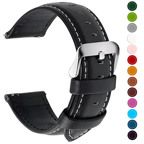 Fullmosa Quick Release 22mm Leather Watch Band, Watch Strap Compatible Samsung Gear S3 Frontier and Classic Compatible Moto 360 2nd Gen 46mm Smart Watch Band, Black + Silver Buckle ()
