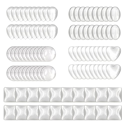 (100pcs Glass Cabochons Clear Dome Tiles for Cameo Pendants Photo Craft Jewelry Making(Round, Oval, Square, Teardrop,)