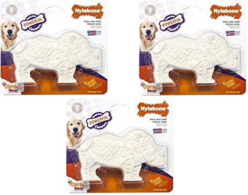 (3 Pack) Nylabone Chicken Flavored Rhino Dog Dental Chews, Size Medium