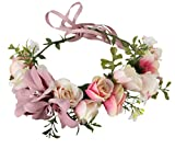 Vivivalue Christmas Lily Handmade Boho Flower Wreath Headband Halo Floral Hair Garland Crown Headpiece with Ribbon Festival Wedding Pink