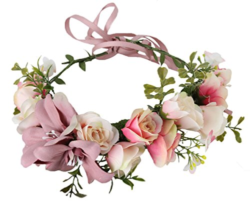 Vivivalue Women Flower Crown Bridal Flower Headband Hair Wreath Floral Headpiece Halo Boho with Ribbon Wedding Party Festival Photos Pink