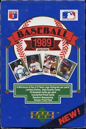 1989 Upper Deck Low Series Baseball Hobby Box (36 Packs/15 Cards: Possible Rookies of Griffey, Randy Johnson, John Smoltz, Gary Sheffield) _ BBCE ()