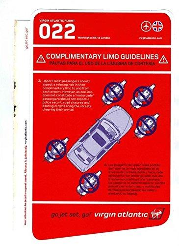 Virgin Atlantic Flight 022 Complimentary Lime Guidelines Washington DC to London