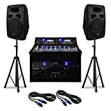 DJ PA-Anlage Set 'Urban Trip-Hop Beats' Komplettsystem PA-Sound-System 1000 W mit PA-Verstärker und 4-Kanal-Mischpult (Doppel-CD-USB-SD-Player, Boxen-Stativ, Kabel-Set) schwarz