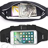 Universal Sports Running Workout Fitness Belt Fanny Waist Pack Sweatproof for iPhone X, 8, 8 Plus, 7, 6s, 6 Plus, Samsung Galaxy mobiles & more. Home button of iPhone Works Access View Window (Black)