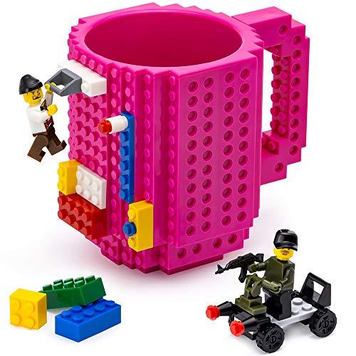 TOYAMBA Build-on Brick Mug - (Magenta) Funny Coffee Mug with Building Bricks, Funny Cups for Kids - Creative Building Block Mug DIY Gift Idea