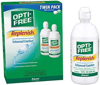 Opti-Free Replenish Multi-Purpose Disinfecting Solution with Lens Case, Twin Pack, 10-Ounces Each