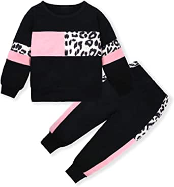 Toddler Girls Clothes,Baby Girl Fall Outfits Pink Sweatsuit 2 Sets