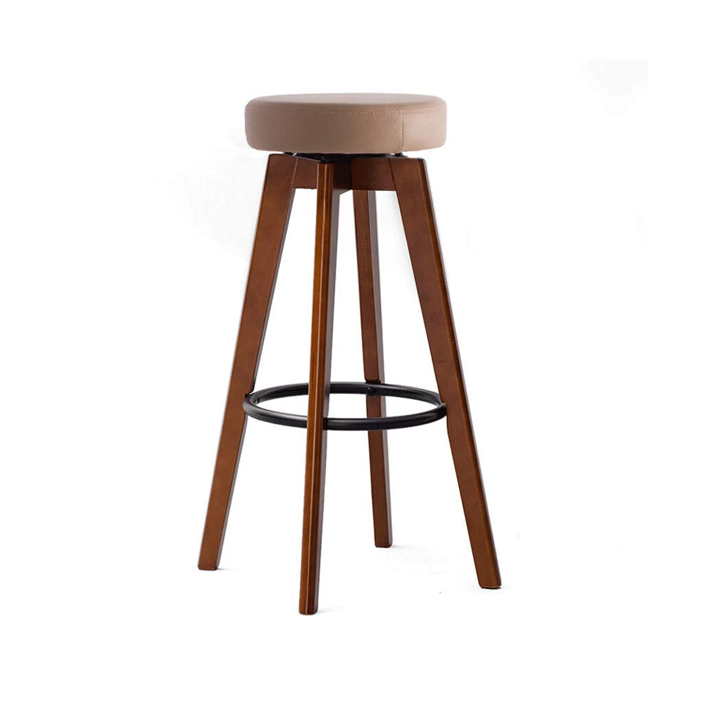 Brown wood brown 74-Iron ring Bar Chair Bar Stool High Stool Home Solid Wood Bar Stool Modern Minimalist redating Creative Chair Multi-color (color   Brown Wood Brown, Size   65-Hemp Rope)