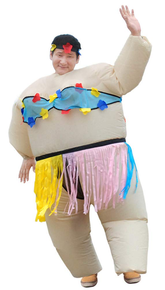 SATUKI Inflatable Costumes Adult,Halloween Funny Sumo Wrestler Wrestling Suits Blow up Cosplay Costume(Blue)