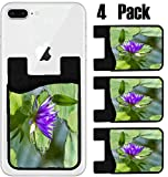 MSD Phone Card holder, sleeve/wallet for iPhone Samsung Android and all smartphones with removable microfiber screen cleaner Silicone card Caddy(4 Pack) IMAGE ID 32191007 Closeup of a exotic purple lo