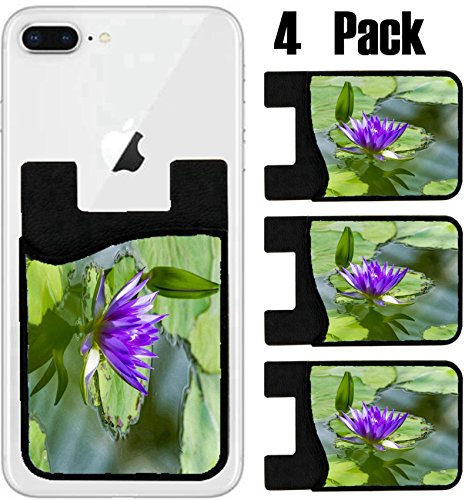 MSD Phone Card holder, sleeve/wallet for iPhone Samsung Android and all smartphones with removable microfiber screen cleaner Silicone card Caddy(4 Pack) IMAGE ID 32191007 Closeup of a exotic purple lo by MSD
