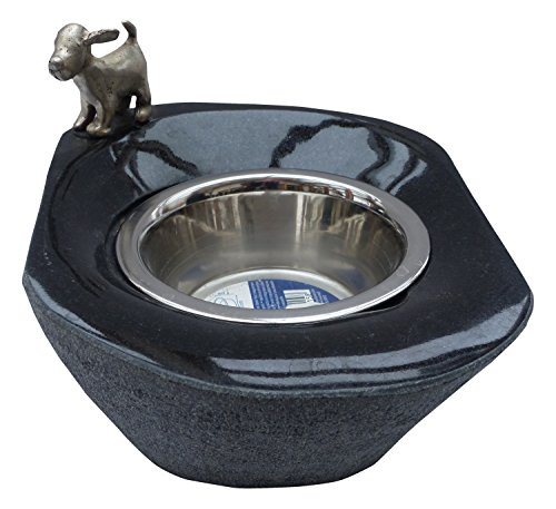 350ml Bowl - Patric Rotte Male Bronze Granite Dog Standing with Bronze and Stainless Steel Bowl, 350ml Capacity, Black, 23x 19x 11cm, 52004