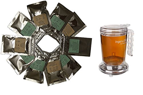 Beantown Tea & Spices - Tea Starter Samplers and Brewer Set. 10 Gourmet Loose Leaf Tea Samplers and 1 Easy to Use 16 oz. Tea Brewer. Perfect Tea Gift.