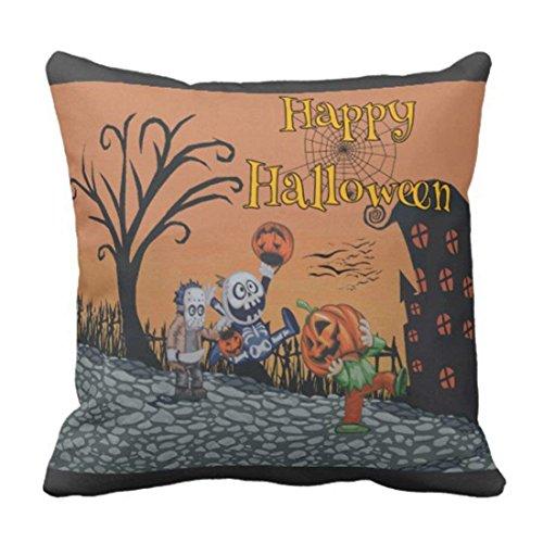 Ameiu-Design Throw Pillow Cover Interior Happy Halloween Trick Treat Holiday Decorative Pillow Case Home Decor Square 18 x 18 inch Pillowcase